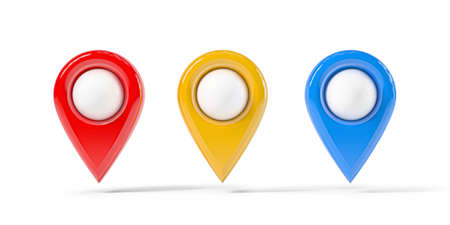 Map point of in different colors, location pin isolated from the white background