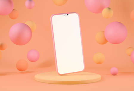 Smartphone with copy space on background with floating spheres, warm pastel tones