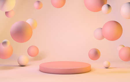 Podium on background with floating spheres, warm pastel tones