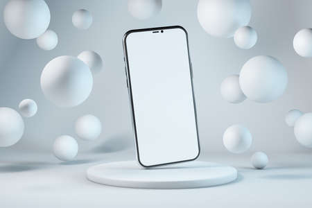 Smartphone with copy space on background with floating spheres Reklamní fotografie - 164674270
