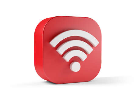 Wifi icon red isolated on white background. 3d illustration