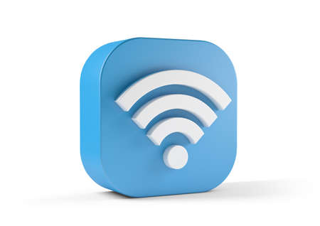 Wifi icon blue isolated on white background. 3d illustration