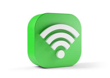 Wifi icon green isolated on white background. 3d illustration Reklamní fotografie