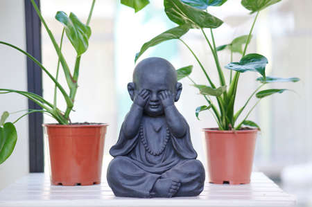 Buddha with hands on eyes, background with plants