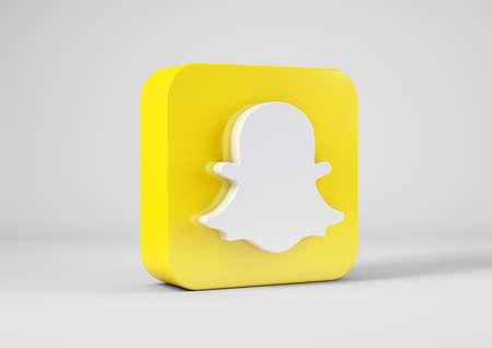 Snapchat logo in 3d rendering