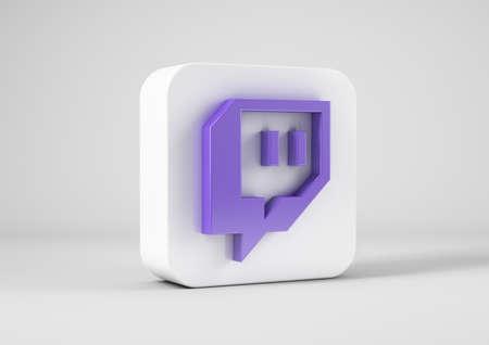 Twitch logo in 3d rendering