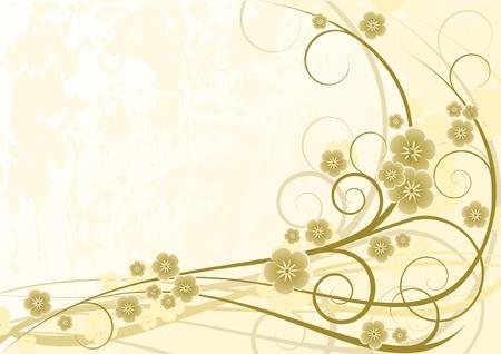 fondos colores pastel: Fondo crema floral con flores, ilustraci�n vectorial