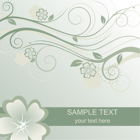 Floral green background with place for text