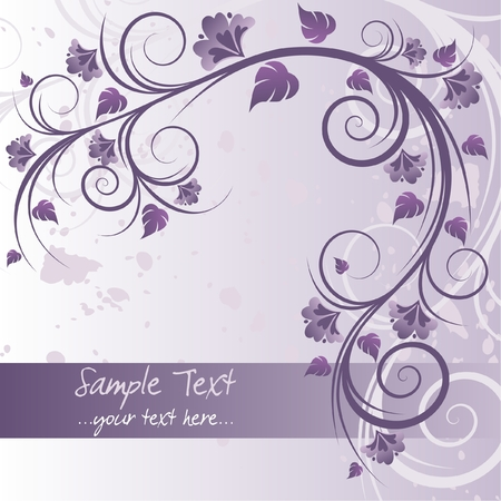 Floral purple background with space for text Illustration