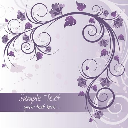 morado: Fondo p�rpura floral con espacio para texto Vectores
