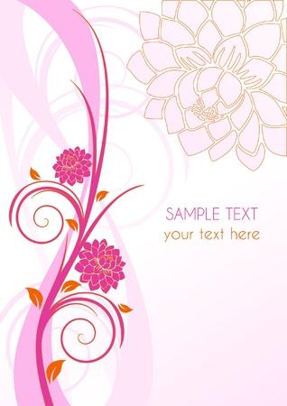 Copertura floreale di rosa con fiori e posto per il testo, illustrazione