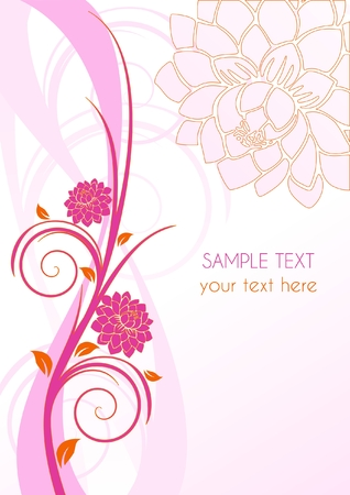 Floral pink cover with flowers and place for text, illustration Illustration