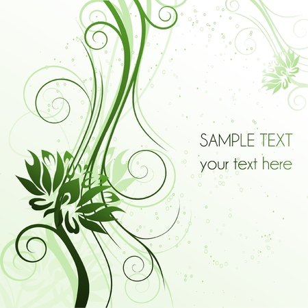 Floral green cover with flowers and place for text, illustration