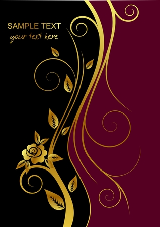 red metallic: Black and red cover with gold flower and place for text, illustration