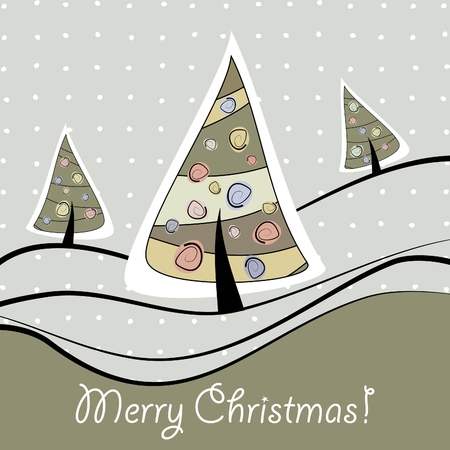 Christmas greeting card with trees and snow Illustration
