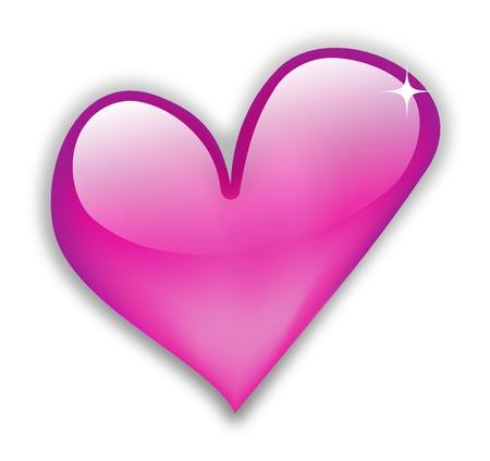 corazon rosa: Brillante coraz�n caliente de Rosa