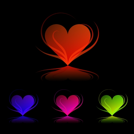 dating icons: Four colored hearts on black background