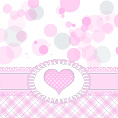 Cute pink heart greeting card Vector
