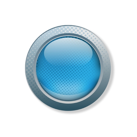 orb: Light blue button with grunge effect Illustration