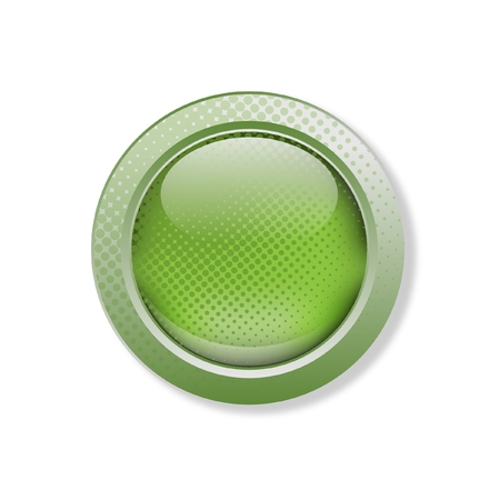 the caustic: Green button with grunge effect