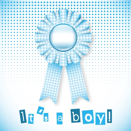 Baby blue card announcement with cockade Vector
