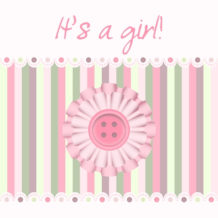 Baby pink card with cockade and button Banco de Imagens - 8727803