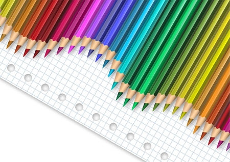 Colored pencil on squared paper  Vector