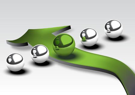Five metallic spheres with green arrow