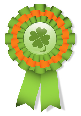 St. Patricks day cockade with clover Vector