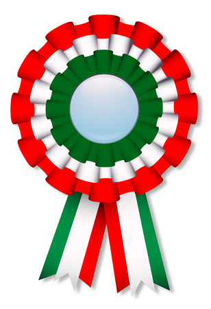 Celebration cockade with italian flags colors Illustration
