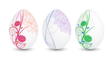 Three floral easter eggs Stock Vector - 8842883