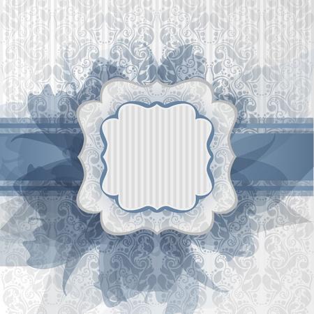 Romantic template frame design for greeting card Ilustração