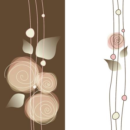 cenefas flores: Delicado fondo floral Vectores