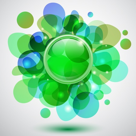 Abstract background with bubbles and green button Illustration