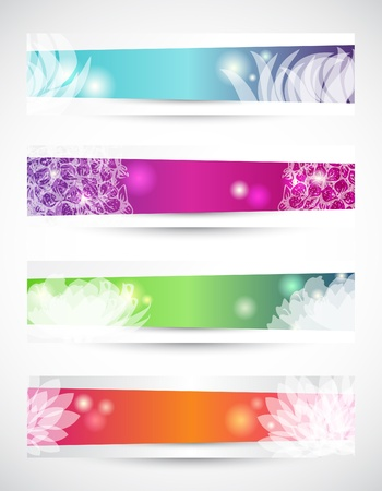 wave crest: Set of four header with white flowers shapes