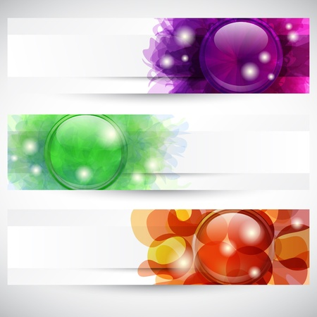 Set of three headers with glossy button's shapes