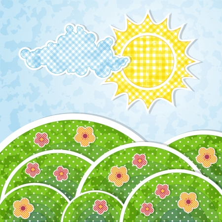 Landscape with sun, cloud, hills and  flowers  Vector