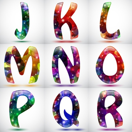 Set of nine shiny letters