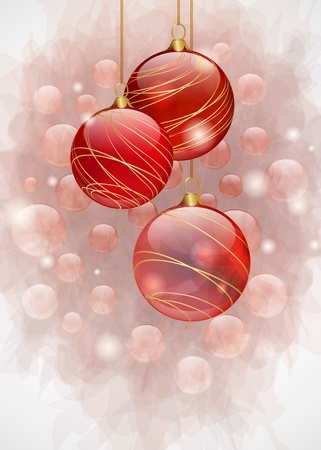 Christmas background with red shiny balls Vector