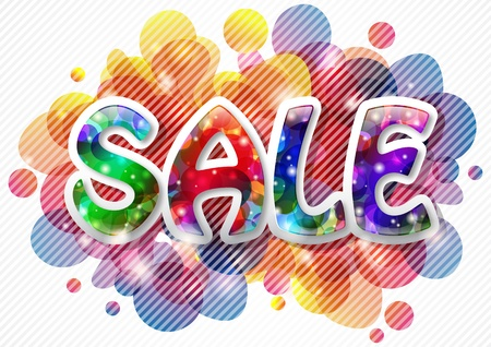 Sale background with shiny text, lights and bubbles