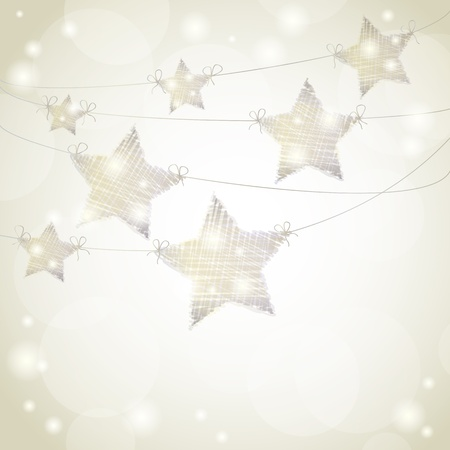 holiday: Christmas background with stars hanging from ribbons Illustration