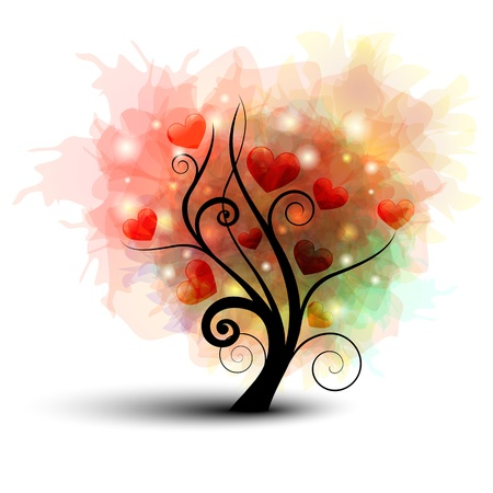 Abstract tree silhouette with rainbow leafs and heart