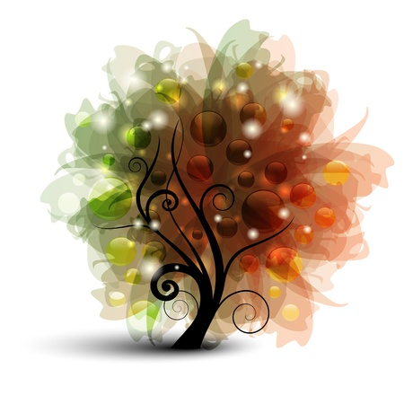 Abstract tree with balls and lights Stock Vector - 9922871