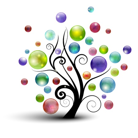 Silueta de árbol abstractas con coloridos burbujas Ilustración de vector