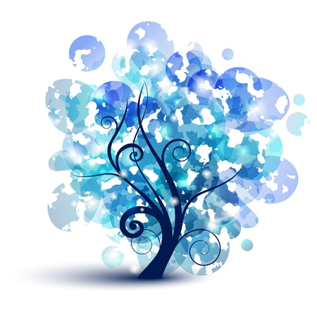 Abstract tree silhouette with blue leafs Stock Vector - 9922873