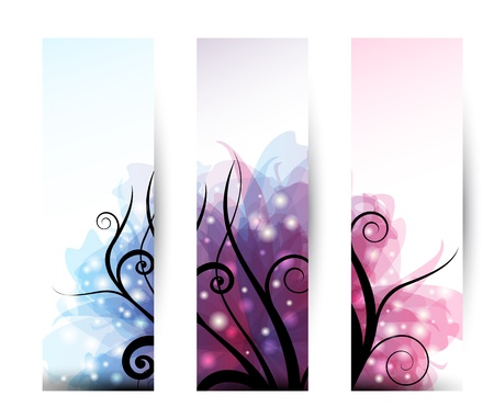 Set of three vertical banner with black swirls and transparent effects
