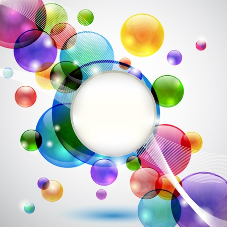 Colorful background with bubbles, lights, waves and copy space Vector