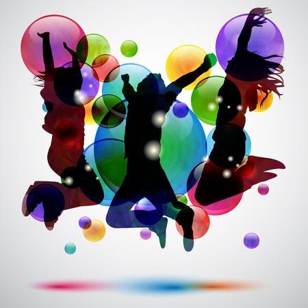 dance music: Achtergrond met blije mensen springen en bubbels