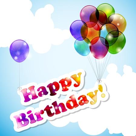verjaardag frame: Hemel met vliegende gelukkige verjaardag banner en ballonnen