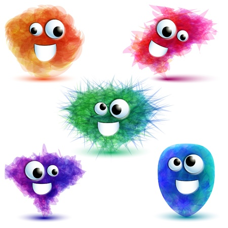 Set of five cute monsters Vector
